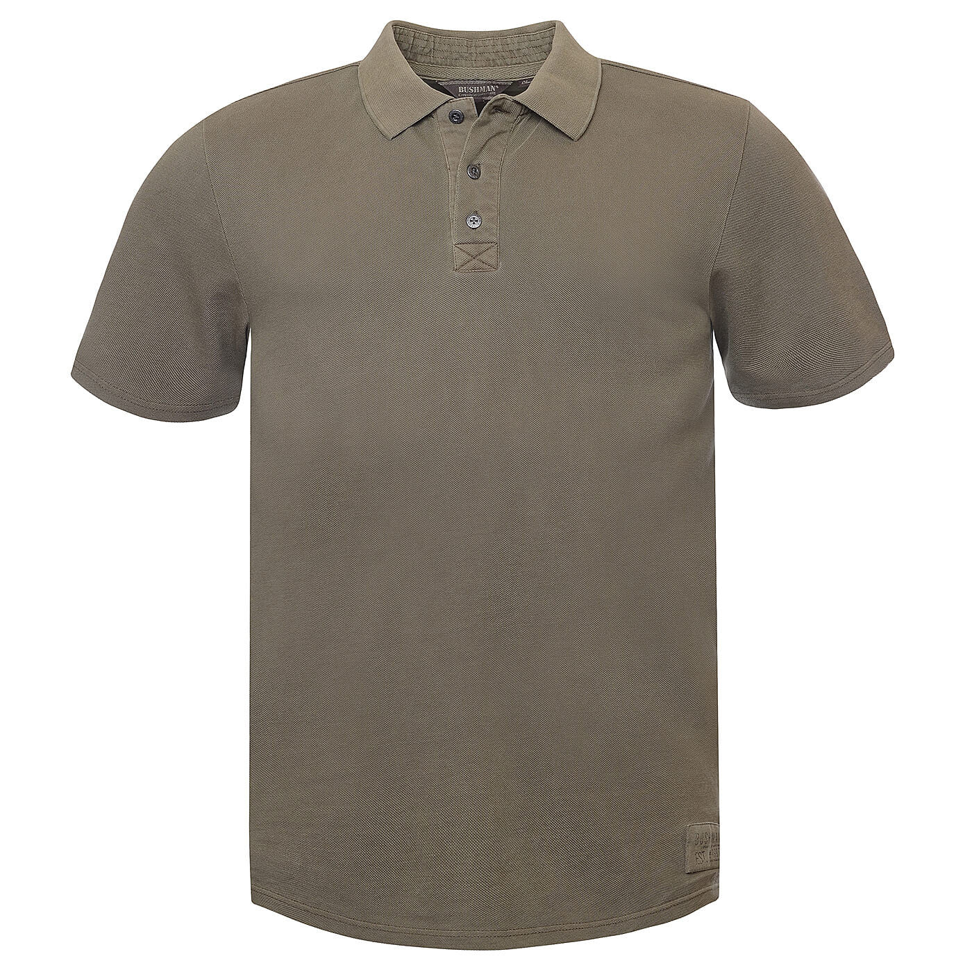 BUSHMANSHOP CORNWALL MEN'S OLIVE/SANDY BROWN COTTON POLO SHORT SLEEVE T-SHIRT