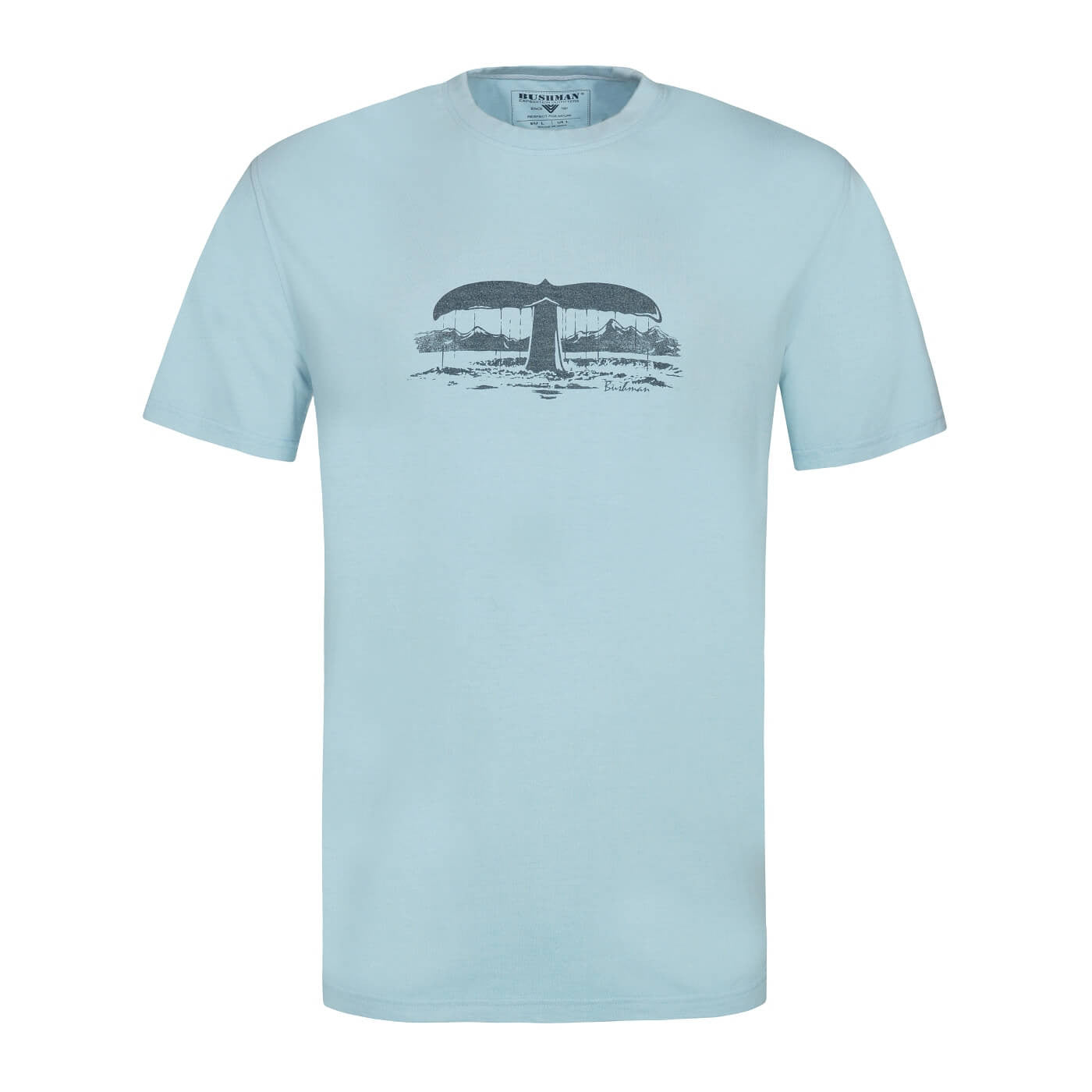 BUSHMANSHOP STERRETT MEN'S LIGHT BLUE COTTON BAMBOO WHALE SHORT SLEEVE T-SHIRT