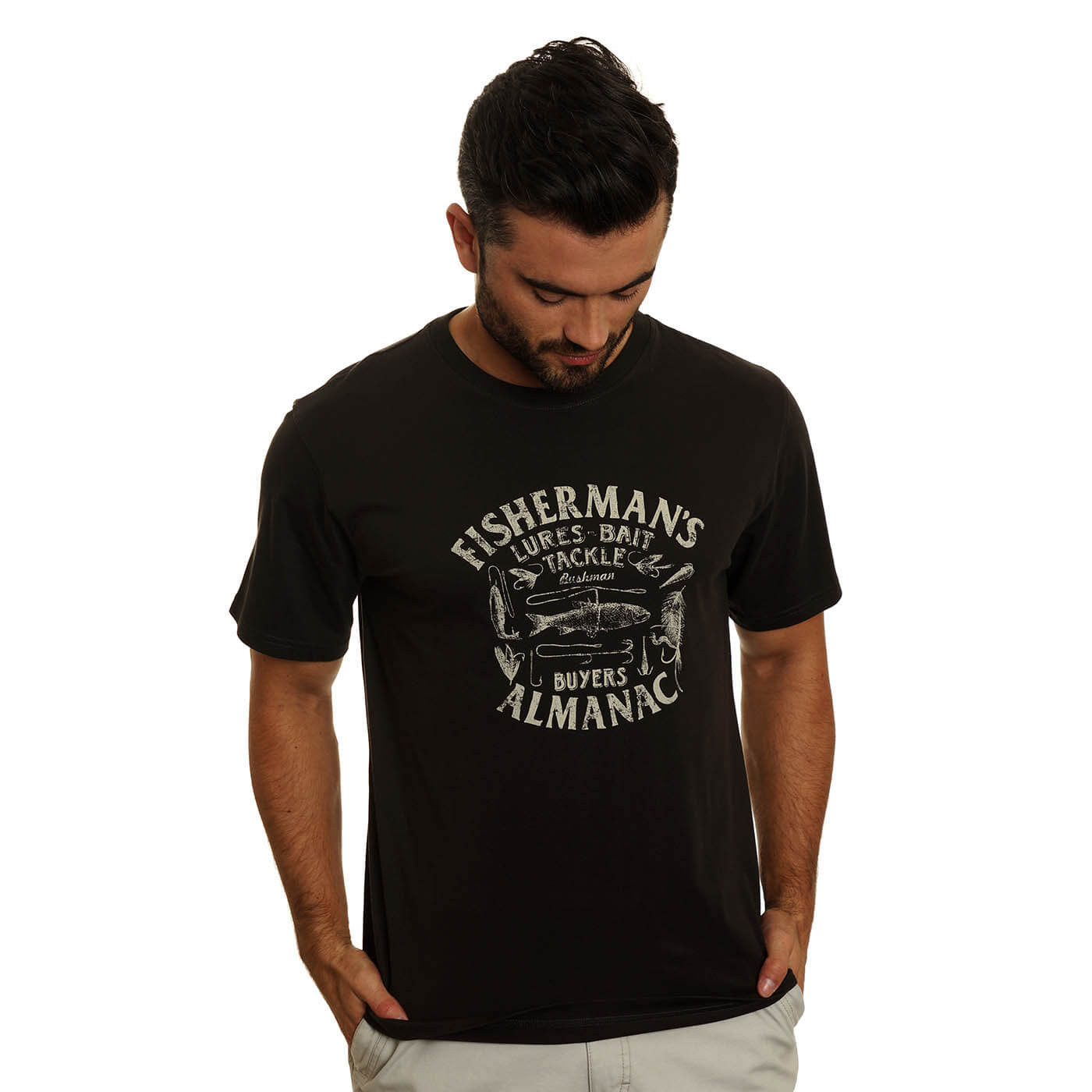 BUSHMANSHOP PEKIN MEN'S BLACK EXPEDITION FISHING COTTON T-SHIRT