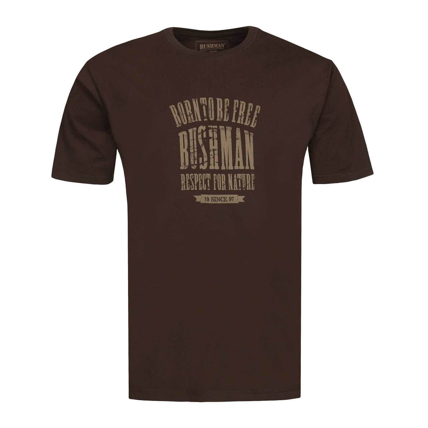 BUSHMANSHOP GILBY MEN'S DARK BROWN COTTON SHORT SLEEVE T-SHIRT