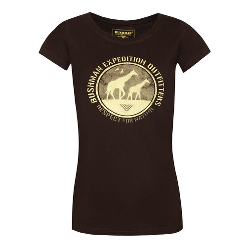 BUSHMANSHOP AMAYA WOMEN'S BROWN GIRAFFE COTTON SHORT SLEEVE T-SHIRT