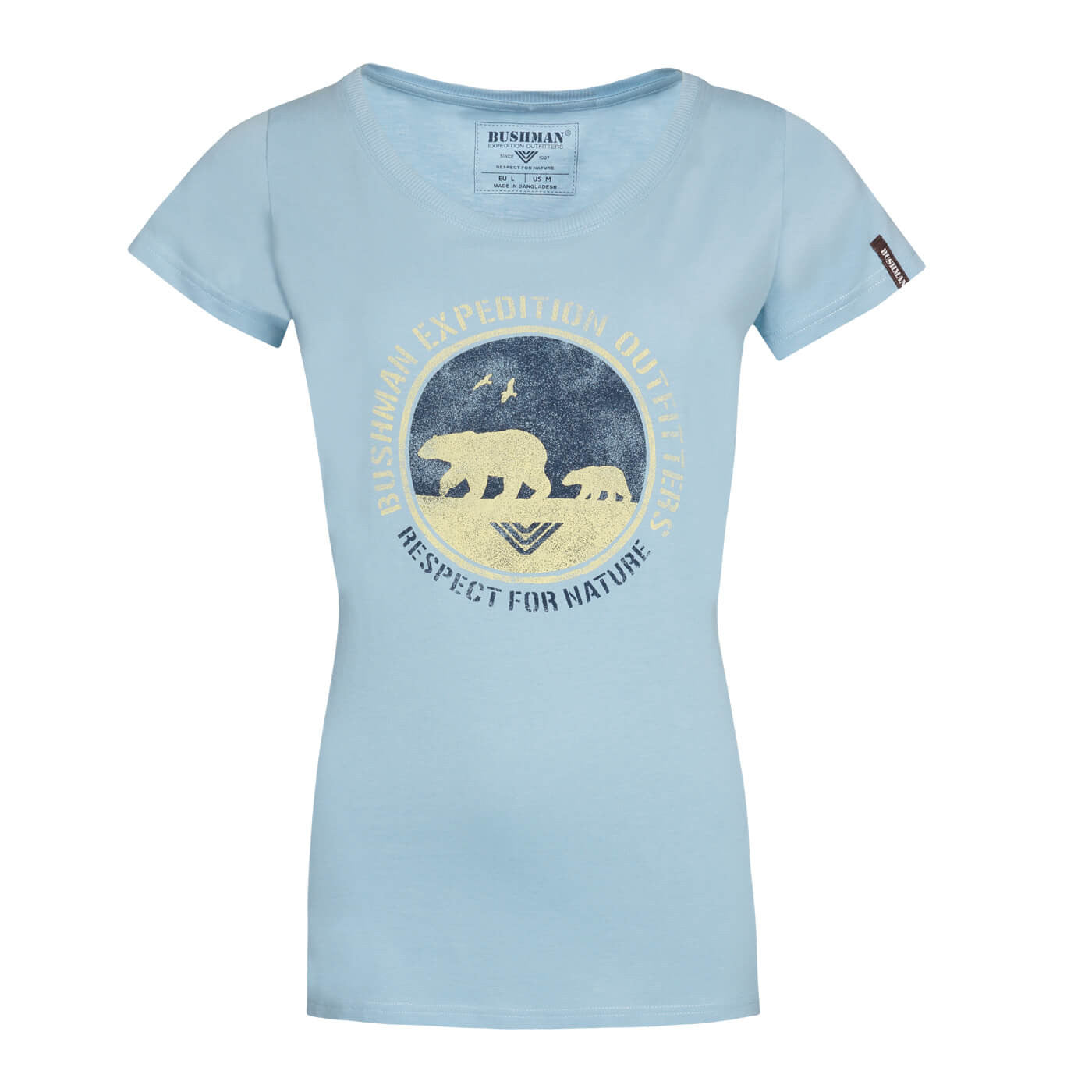 BUSHMANSHOP AMAYA WOMEN'S LIGHT BLUE POLAR BEAR COTTON SHORT SLEEVE T-SHIRT