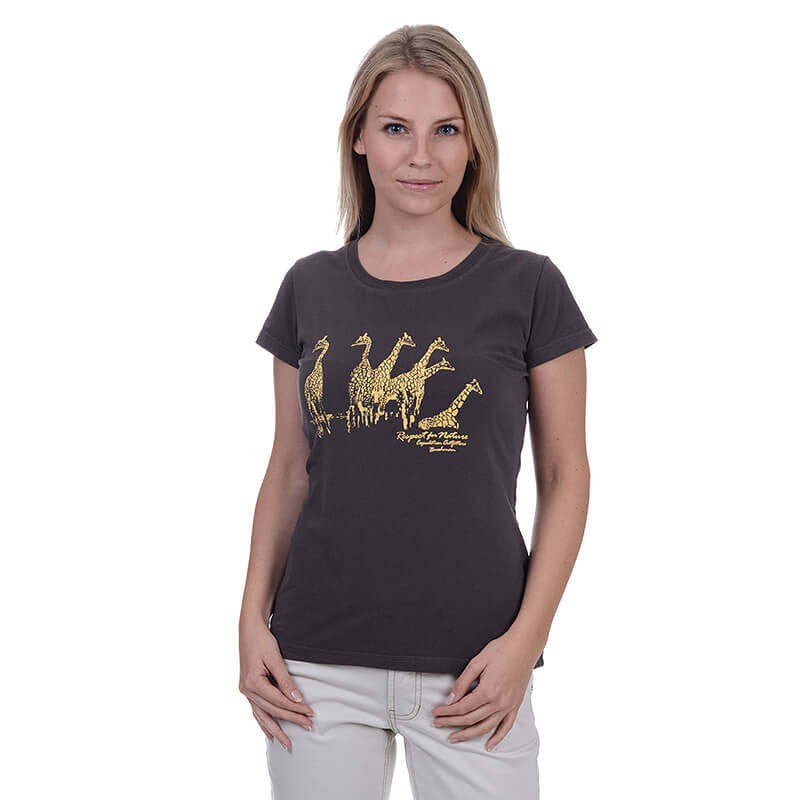 BUSHMANSHOP JANE WOMEN'S BROWN GIRAFFE AFRICA COTTON SHORT SLEEVE T-SHIRT