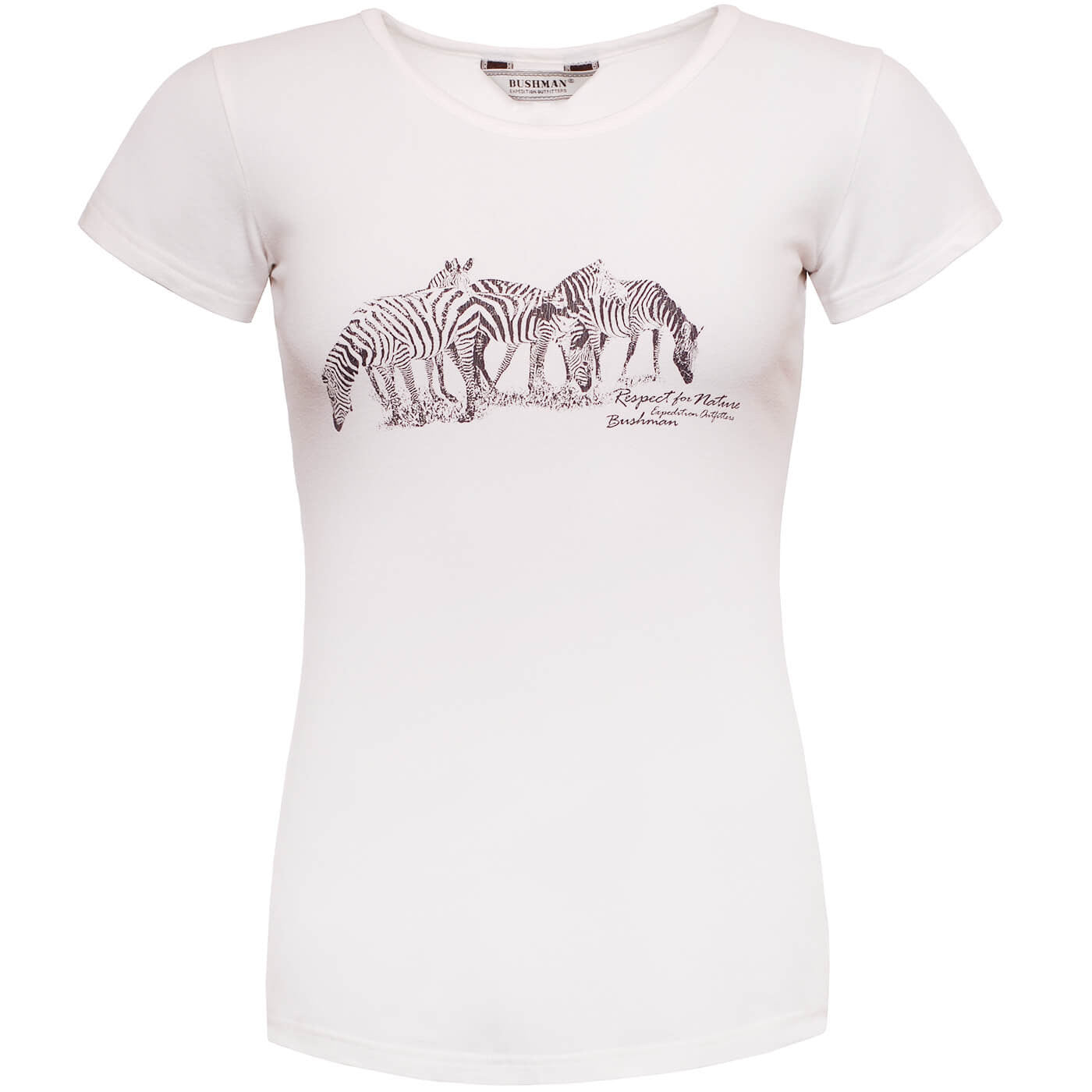 BUSHMANSHOP JANE WOMEN'S WHITE ZEBRA AFRICA COTTON SHORT SLEEVE T-SHIRT