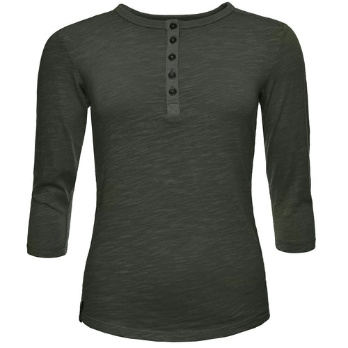 BUSHMANSHOP DIANE SHORT WOMEN'S GREEN COTTON HENLEY 3/4 SLEEVE T-SHIRT