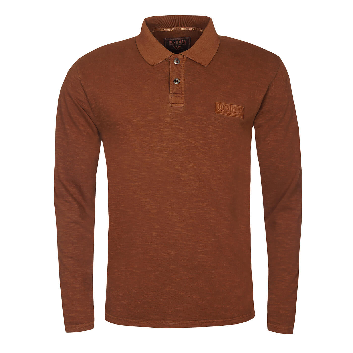 BUSHMANSHOP CORWIN MEN'S BROWN HEAVY COTTON LONG SLEEVE POLO T-SHIRT