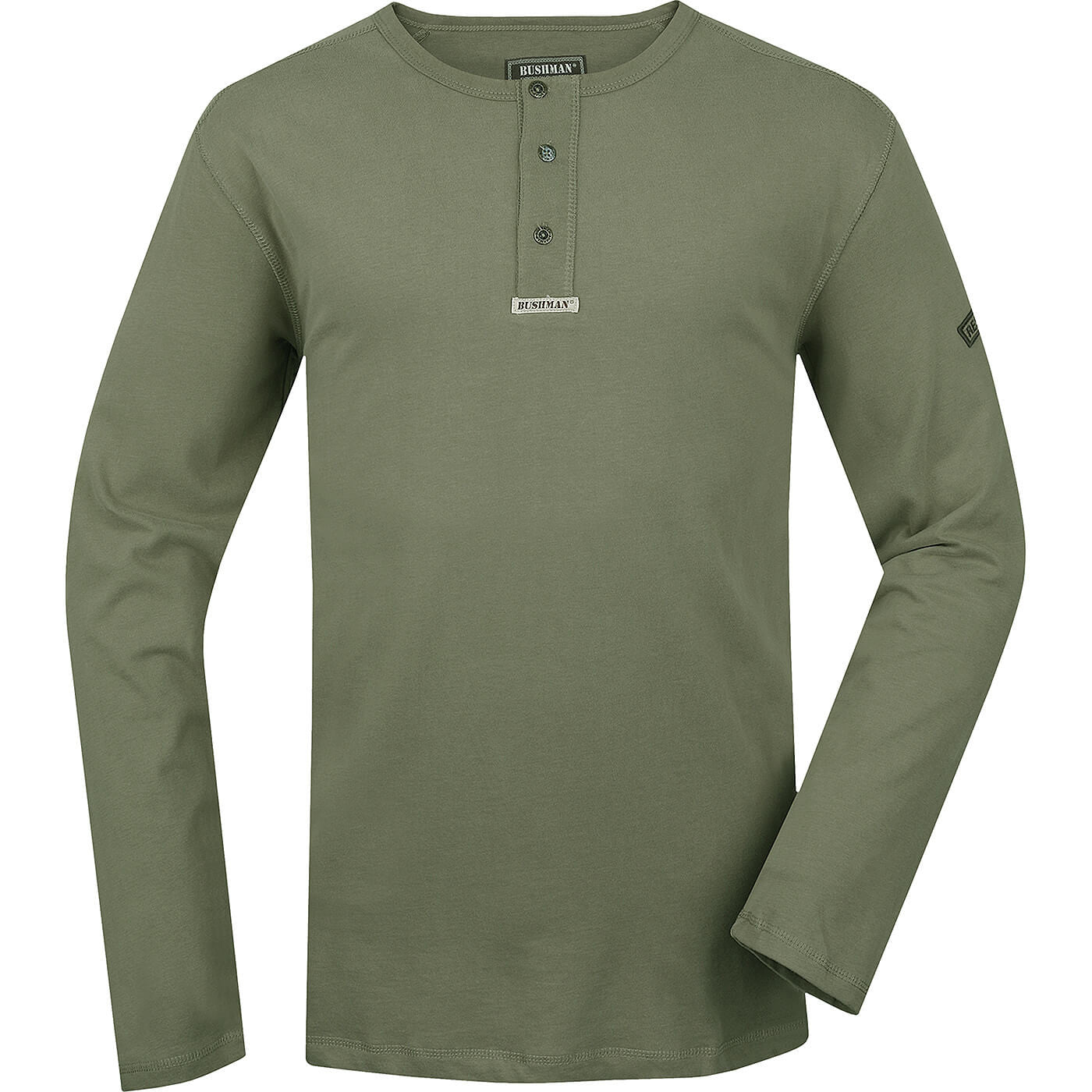 BUSHMANSHOP STEWE MEN'S OLIVE GREEN COTTON LONG SLEEVE HENLEY T-SHIRT