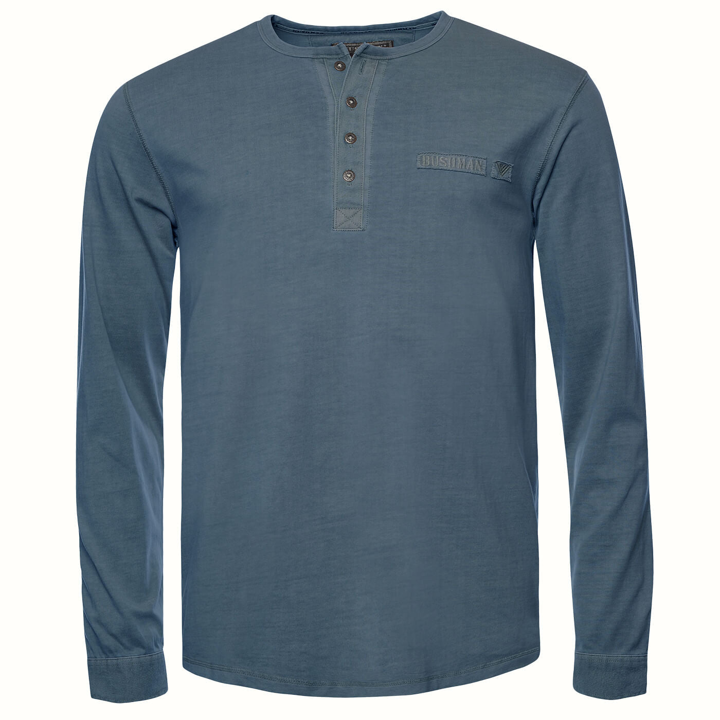 BUSHMANSHOP HOBART MEN'S BLUE KHAKI GREY COTTON LONG SLEEVE HENLEY T-SHIRT
