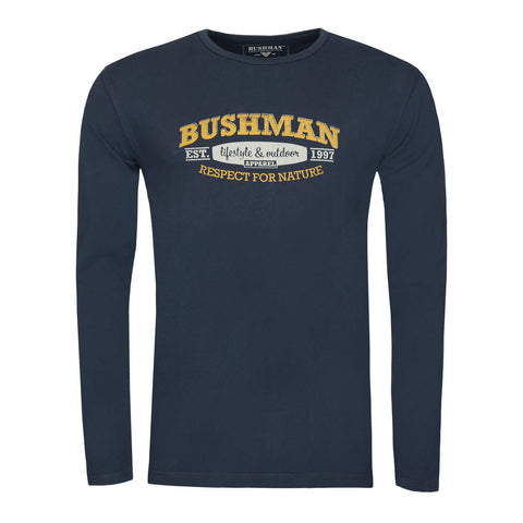 BUSHMANSHOP MYLO MEN'S BLUE COTTON LONG SLEEVE T-SHIRT