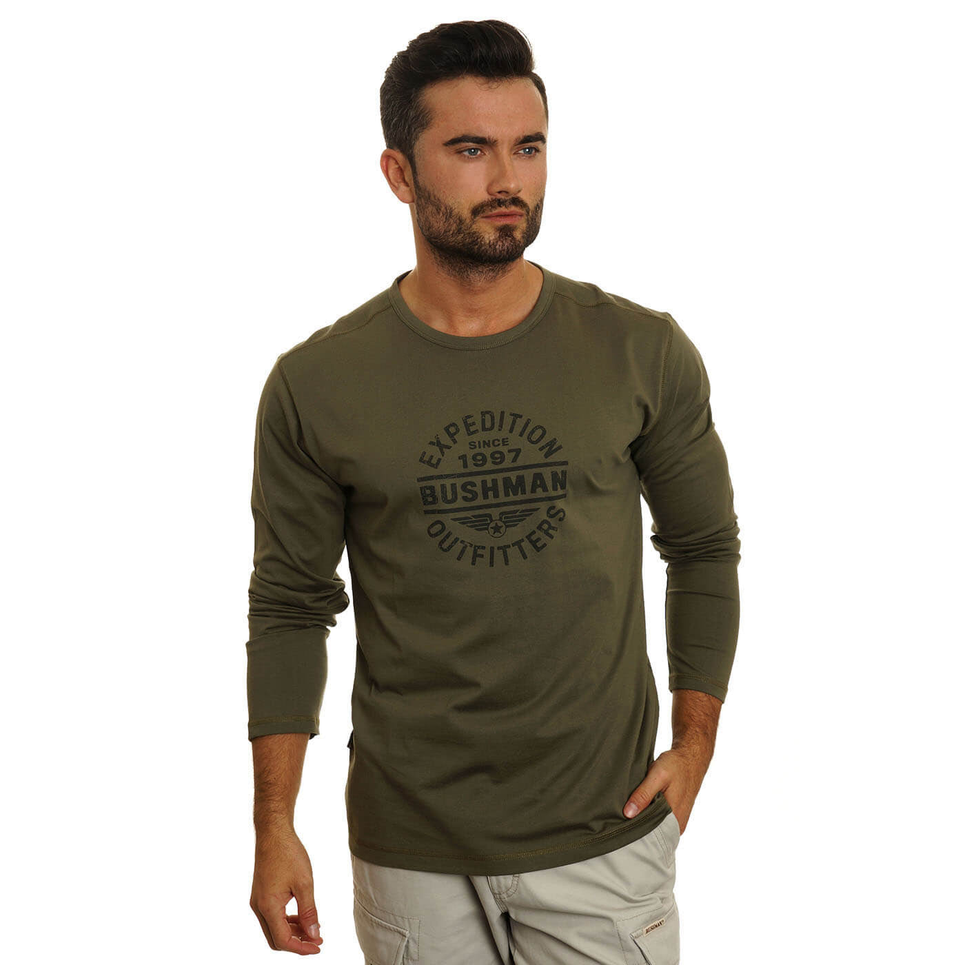 BUSHMANSHOP MYLO MEN'S GREEN COTTON LONG SLEEVE T-SHIRT