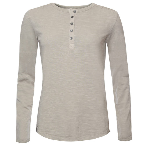 BUSHMANSHOP DIANE WOMEN'S  CREAM/GREEN COTTON HENLEY LONG SLEEVE T-SHIRT