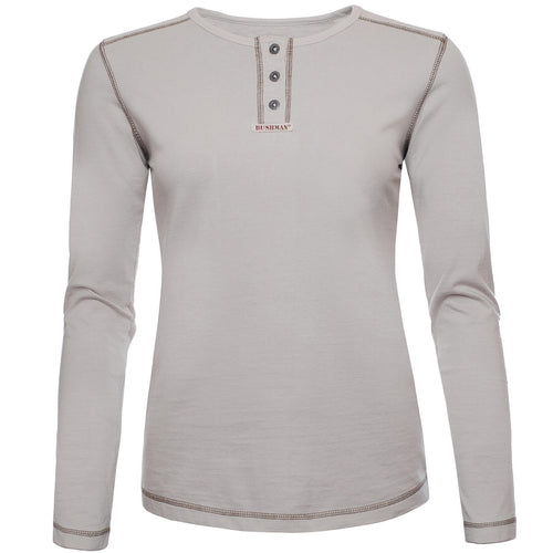 BUSHMANSHOP BONITA WOMEN'S COTTON HENLEY LONG SLEEVE T-SHIRT