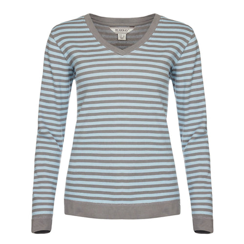 BUSHMANSHOP DORIS WOMEN'S GREEN BLUE STRIPED COTTON LONG SLEEVE T-SHIRT