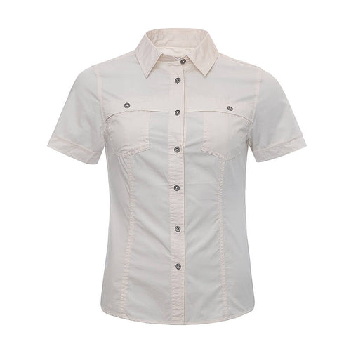 BUSHMANSHOP COBELIA WOMEN'S CREAM/SANDY BROWN COTTON SHORT SLEEVE SLIM-FIT SHIRT
