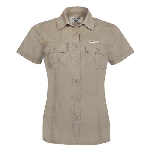 BUSHMANSHOP ISLA WOMEN'S BEIGE KHAKI BROWN COTTON SHORT SLEEVE EXPEDITION SHIRT