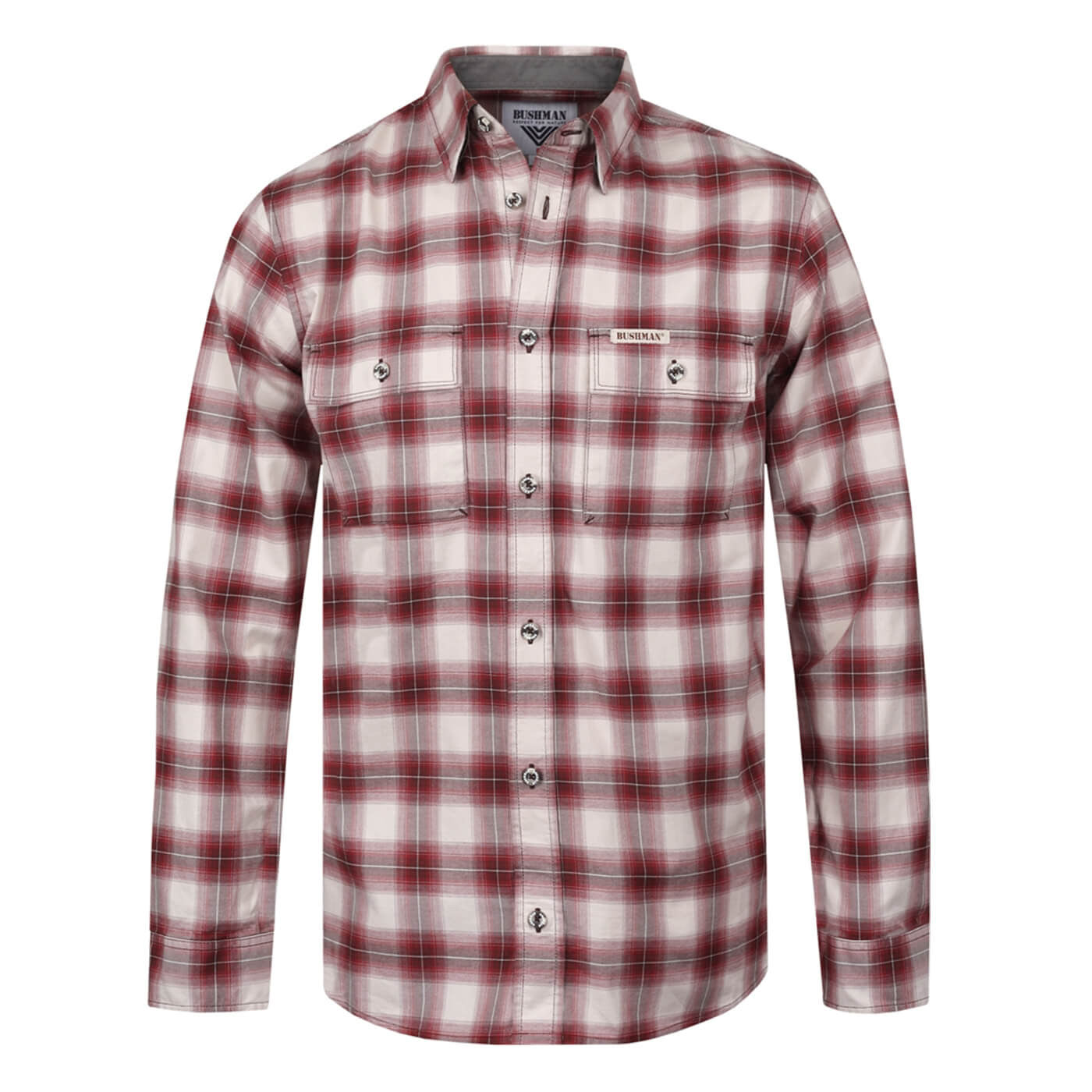BUSHMANSHOP ARBOR MEN'S RED PLAID COTTON LONG SLEEVE SHIRT