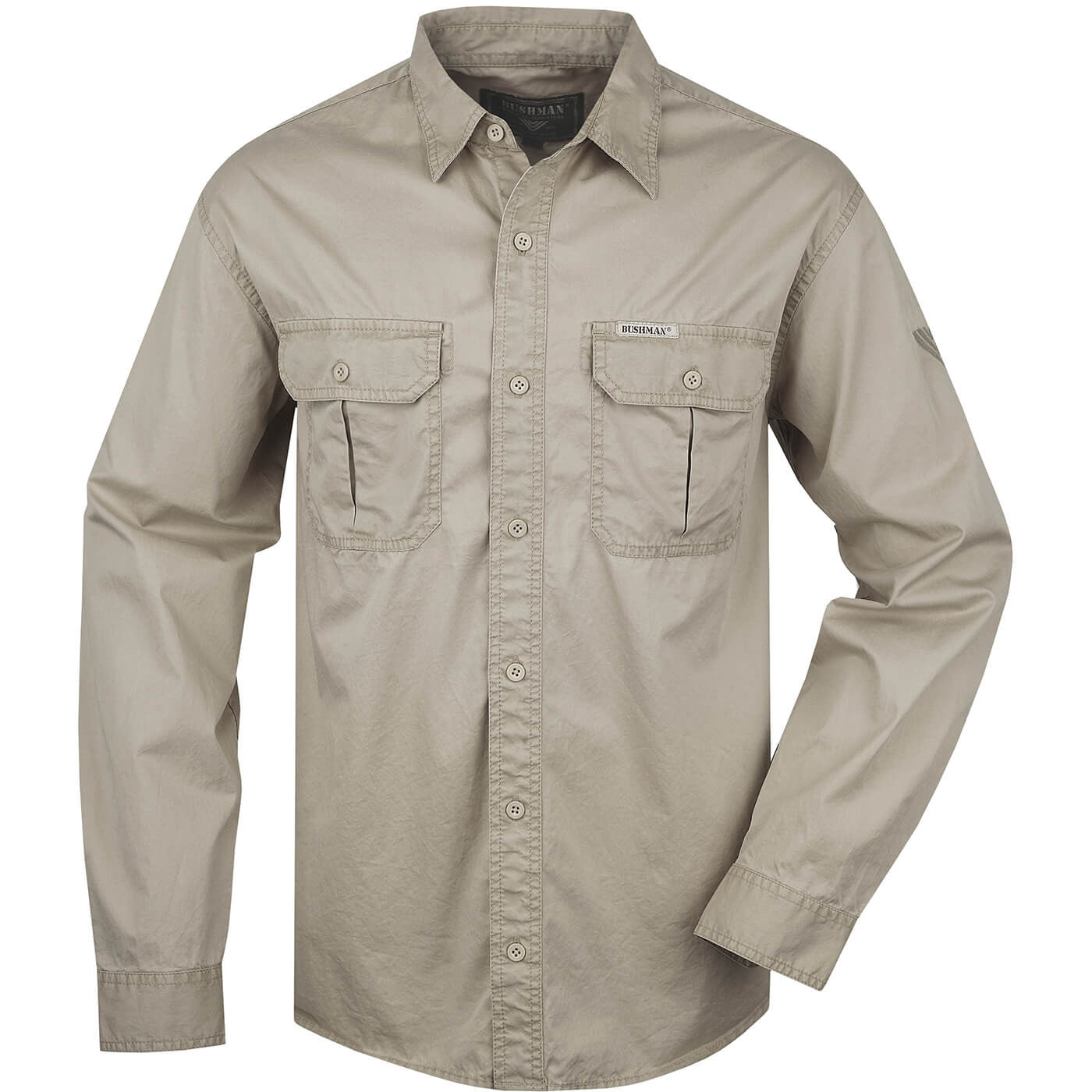 BUSHMANSHOP DRYDEN MEN'S BEIGE/GREEN COTTON ROLL-UP LONG SLEEVE SAFARI SHIRT
