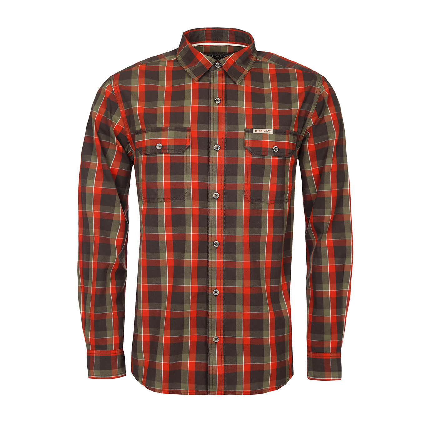 BUSHMANSHOP ENDERBY MEN'S PLAID RED COTTON FLANNEL LONG SLEEVE SHIRT