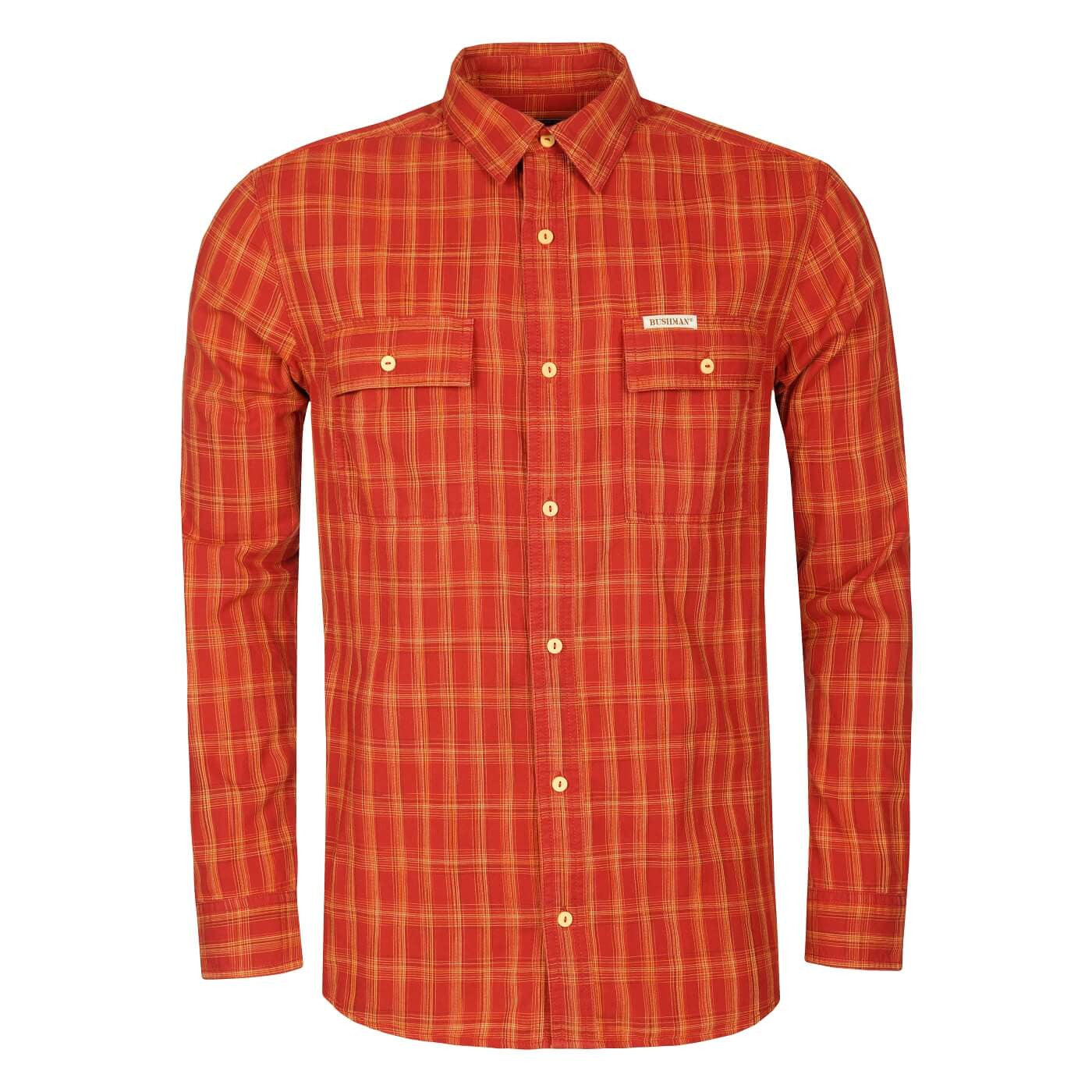BUSHMANSHOP FERNDALE MEN'S RED GREY COTTON LONG SLEEVE SHIRT