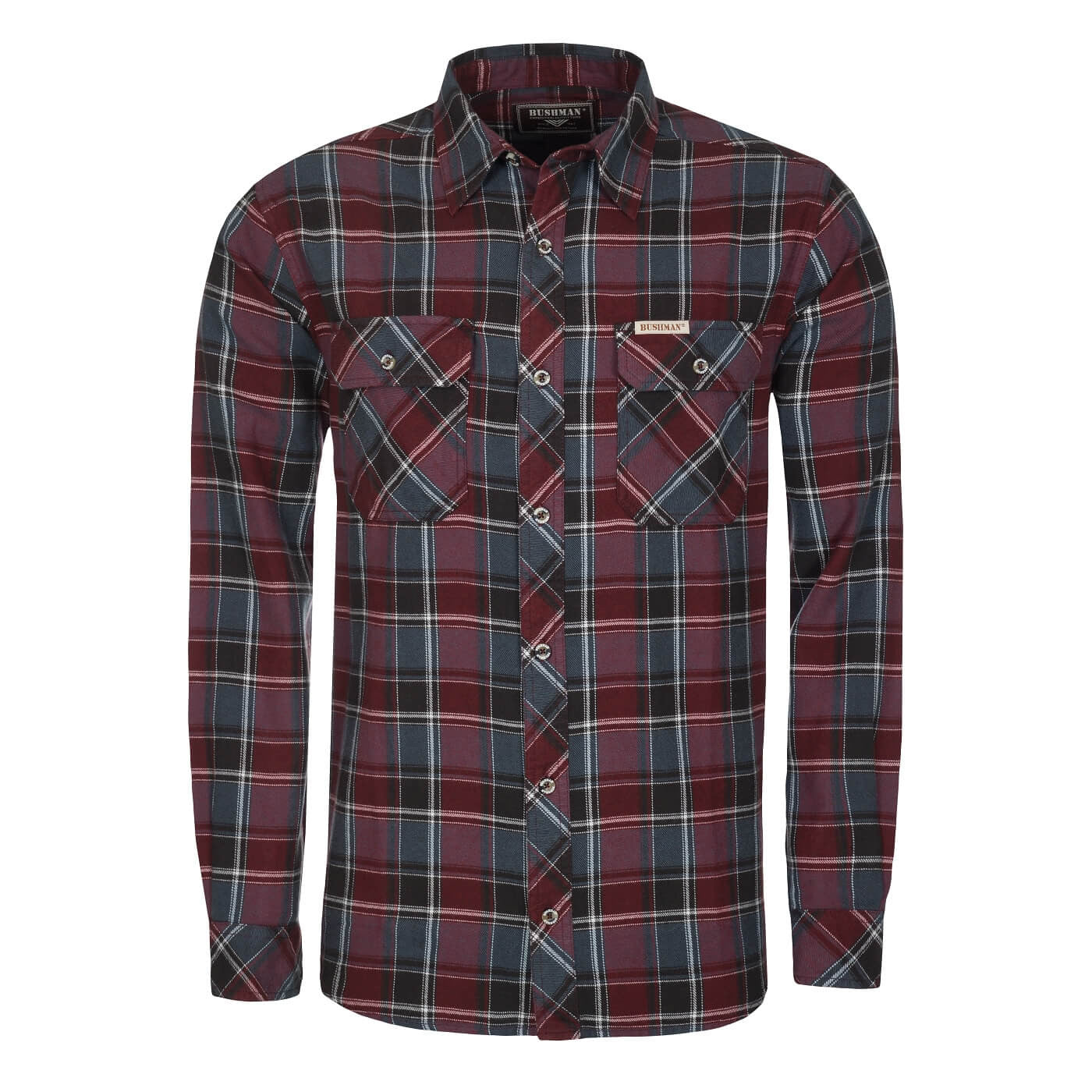 BUSHMANSHOP LANGLEY MEN'S PLAID RED GREY BLACK COTTON FLANNEL LONG SLEEVE SHIRT