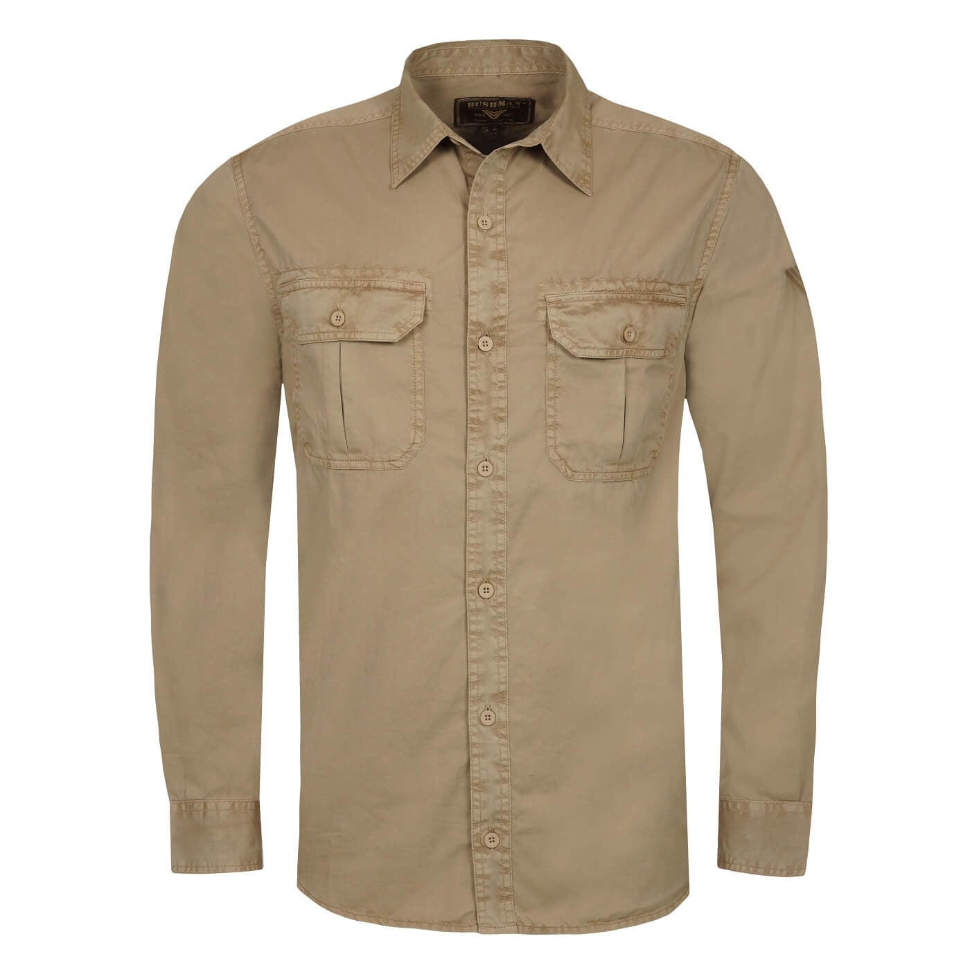 BUSHMANSHOP ROGERS MEN'S KHAKI BROWN COTTON LONG SLEEVE SAFARI SHIRT