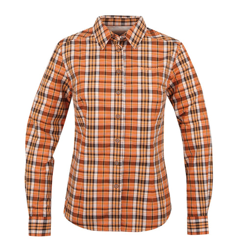 BUSHMANSHOP SHERRY WOMEN'S ORANGE/YELLOW PLAID COTTON LONG SLEEVE SHIRT