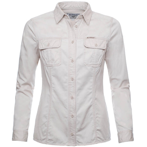 BUSHMANSHOP ARIPEKA BEIGE KHAKI COTTON EXPEDITION LONG SLEEVE SHIRT