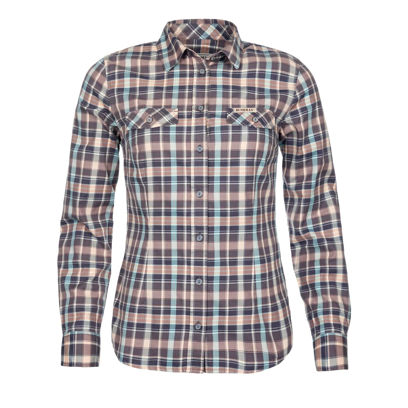 BUSHMANSHOP BAHIA WOMEN'S PLAID BLUE RED COTTON LONG SLEEVE SHIRT