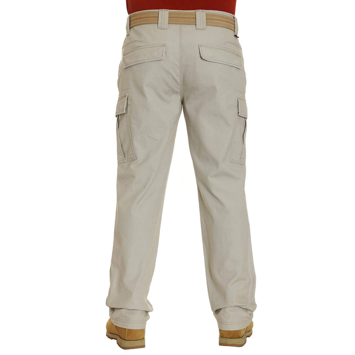 BUSHMANSHOP MISSION MEN'S KHAKI BROWN HEAVY DUTY COTTON CANVAS CARGO TROUSERS