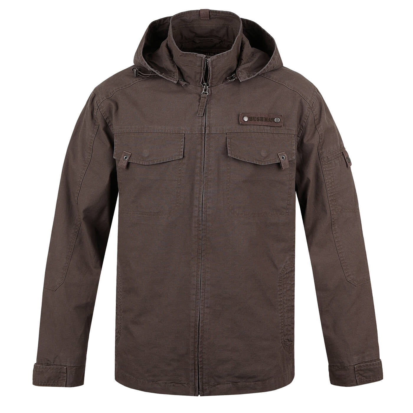 BUSHMANSHOP ONTARIO MEN'S BROWN HEAVY DUTY COTTON CANVAS HOODED ZIP-UP JACKET