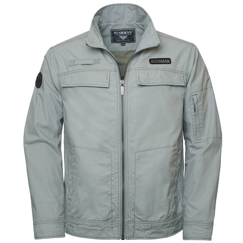 BUSHMANSHOP FERNIE MEN'S GRAY COTTON ZIP-UP JACKET