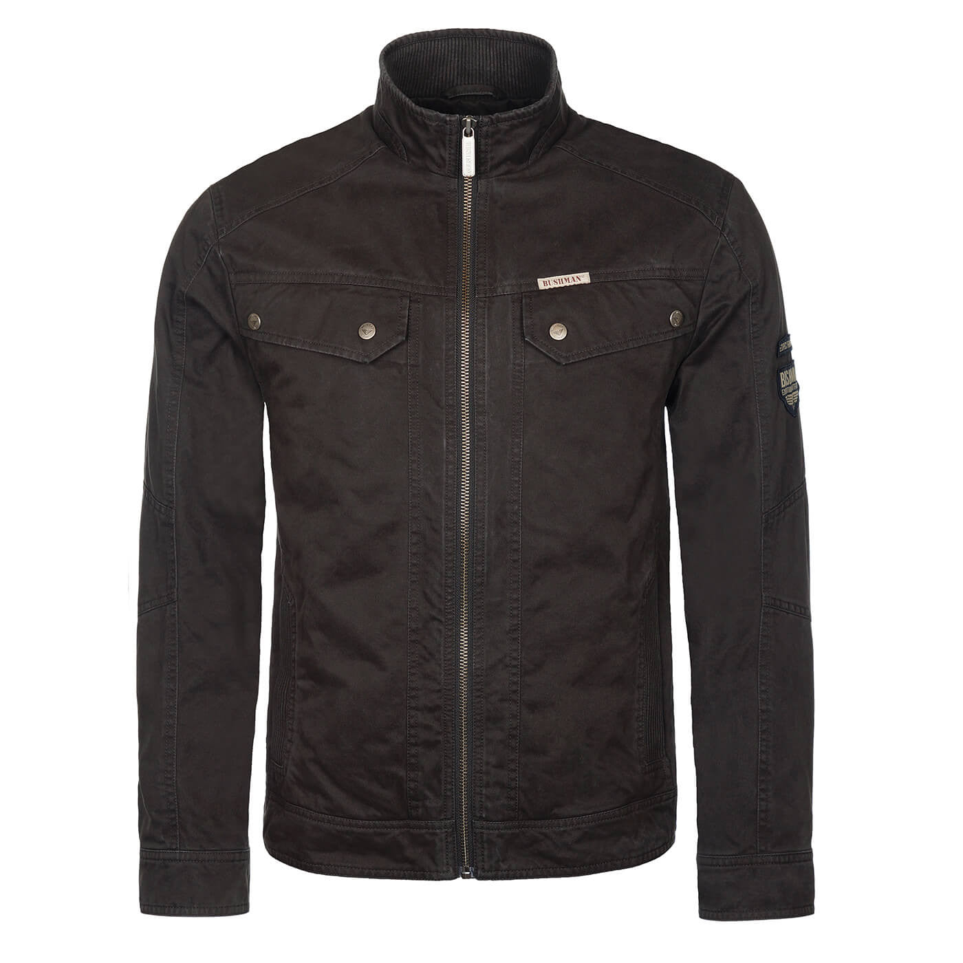 BUSHMANSHOP GRIFFIN MEN'S BROWN BLACK HEAVY COTTON ZIP-UP RIDER JACKET