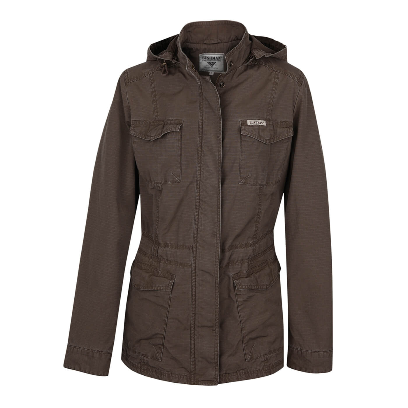 BUSHMANSHOP CLYDE BROWN WOMEN'S COTTON HOODED RIPSTOP JACKET