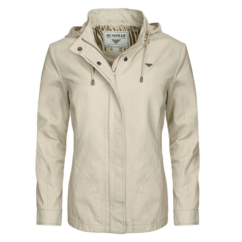 BUSHMANSHOP ROSE WOMEN'S BEIGE COTTON ZIP-UP HOODED HEAVY DUTY JACKET