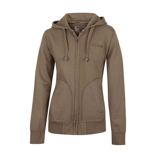 BUSHMANSHOP INNOKO WOMEN'S BROWN COTTON ZIP-UP HOODIE SWEATSHIRT