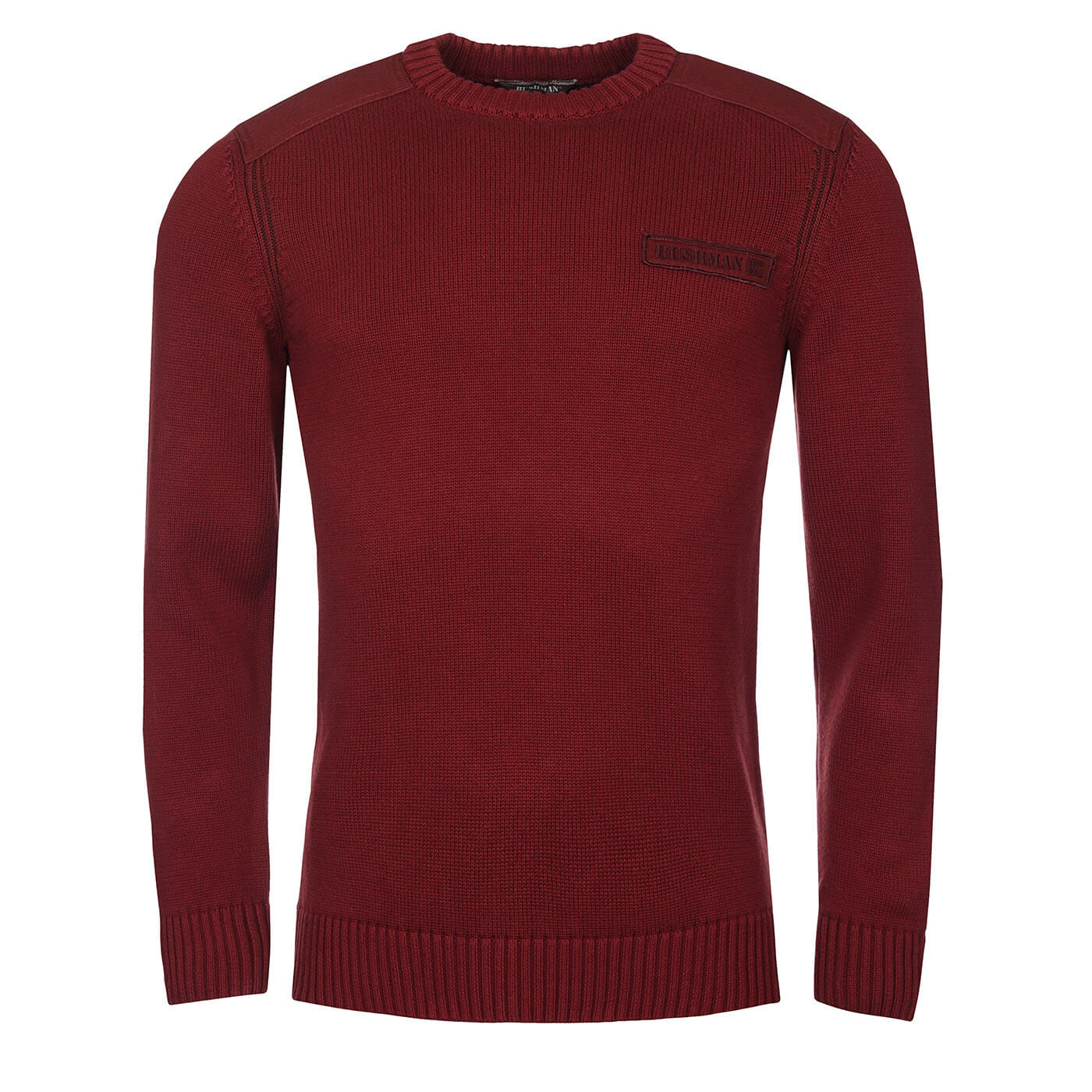 BUSHMANSHOP USAKA MEN'S BROWN RED COTTON MELANGE PULLOVER