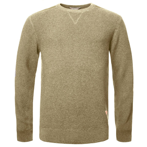 BUSHMANSHOP HEALY MEN'S CAMEL/RED COTTON KNITTED SWEATER
