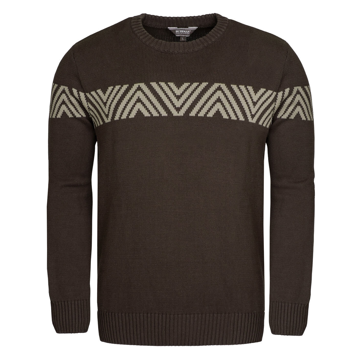 BUSHMANSHOP MERITT MEN'S BROWN KNIT COTTON NORWEGIAN PULLOVER SWEATER