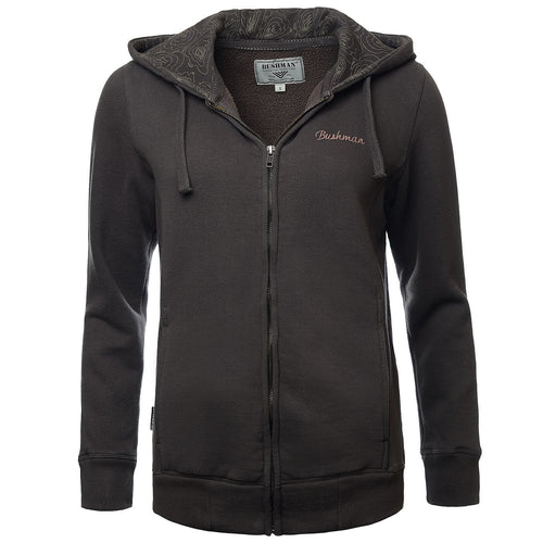 BUSHMANSHOP NORANDA WOMEN'S BROWN WARM ZIP-UP HOODIE SWEATSHIRT