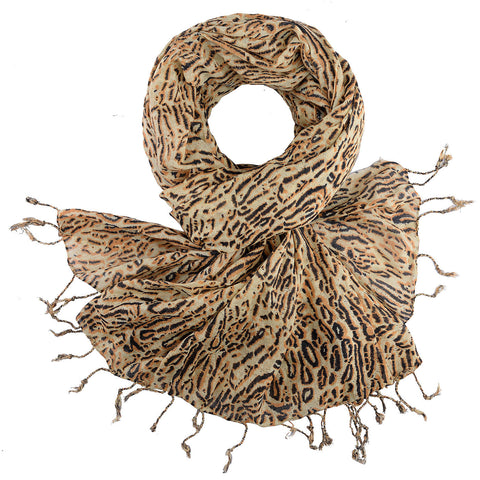 BUSHMANSHOP OKE WOVEN ANIMAL PRINT COTTON SCARF