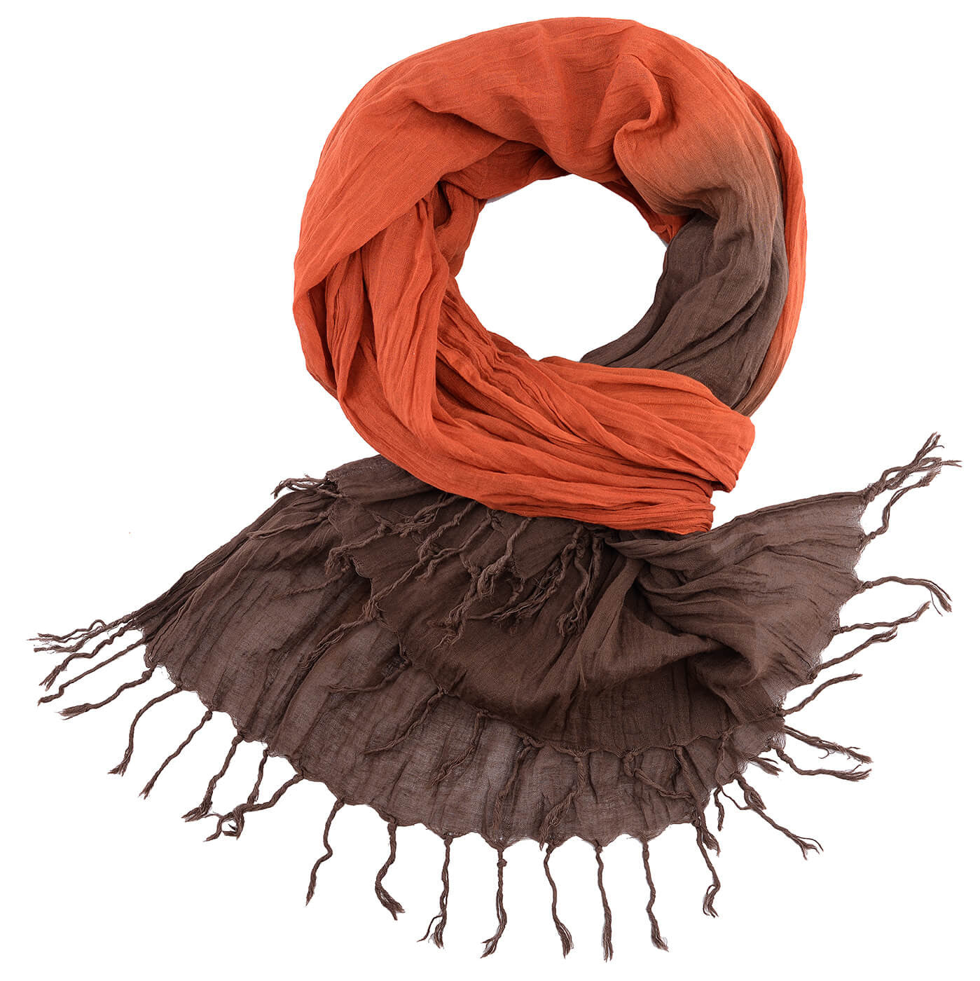 BUSHMANSHOP PETY COTTON SCARF WITH WOVEN PATTERNS & FRINGES