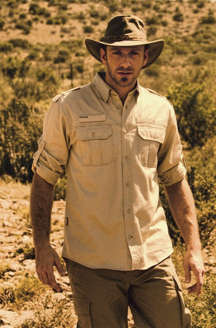 BUSHMANSHOP HAMMER MEN'S BEIGE/KHAKI COTTON ROLL-UP LONG SLEEVE SAFARI SHIRT