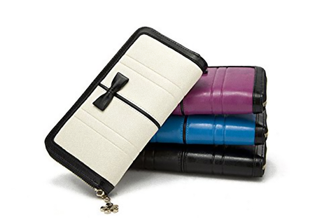 Genuine Leather Bowtie Design Zipper Clutch / Long Wallet (White)