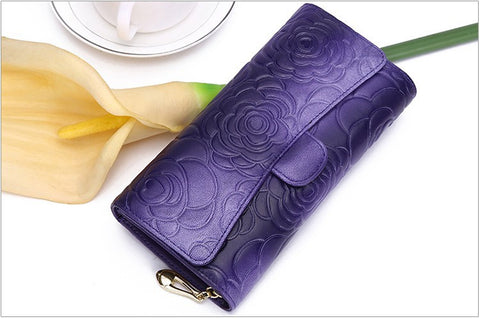 Fashionable Floral Design Leather Purse Clutch (Purple)