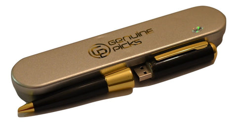 Elegant Ballpoint Pen with 16GB Flash Memory. Fancy Gift Box. Grade A Quality Full Capacity Flash Drive. Perfect Gift Idea (Black & Golden)