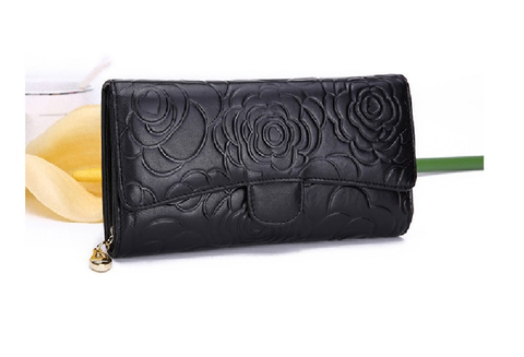 Fashionable Floral Design Leather Purse Clutch (Black)