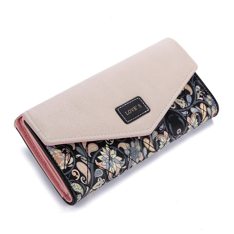 Fashion Envelope Floral Design Leather Clutch 3-Fold Long Wallet  & Coin Purse