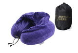 Luxury Memory Foam Hoodie Travel Pillow. Stylish Carry Bag. Premium Hypoallergenic Velvet. Washable Zippered Cover. Scientifically Proven U Shaped Neck Pillow (Purple)