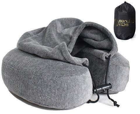 Luxury Memory Foam Neck Pillow with Hoodie. Water Proof Carry Bag. Perfect Gift Idea (Gray)