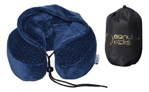 Luxury Memory Foam Neck Pillow with Hoodie. Water Proof Carry Bag. Perfect Gift Idea (Blue)